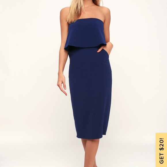 Lulu's Dresses & Skirts - Lulu's Lots of Love Strapless Midi Navy Blue Dress